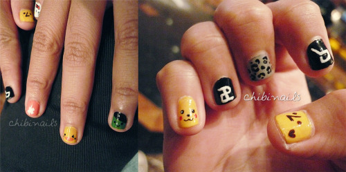 i did block b + beast related nails on my friend @aeteecue. her nails are sooo tiny but really fun to paint on :D if you're wondering what's on her thumb nail, it's a cute logo from a dongwoon fansite: click! (cr: sdwgoods) to all block beast fans, you should know what each design represents! there's kyungcumber, chopper, pikachu, hello kitty, etc ^^ sorry i should have taken a clearer photo, this was done like early in the morning before we went off to see BEAST at the airport in malaysia.