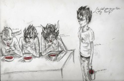 Just because I'm a sick individual >;D John decided to find Gamzee's, Karkat's and Tavros' buckets, mixing together the contents and convince them it was a special human dish that they just HAD to try! Rainbow soup is the BEST! John's secretly a prankster mastermind, we all know it.