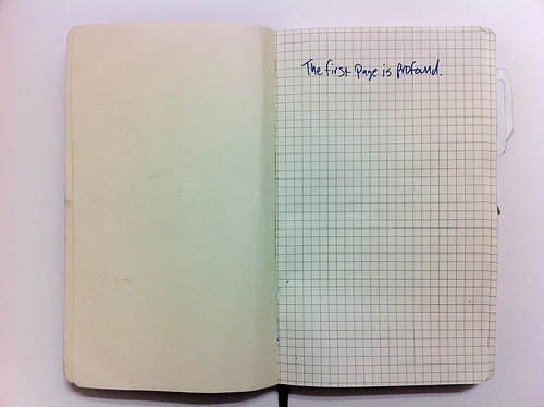 "austinkleon:   I dig the sentiment of Merlin's title for his notebook set: ""Nothing Doesn't Go In Here""   Something I started writing on the first page of all my notebooks a few years back. It helps me.   Sketchbooks should be sketchy."