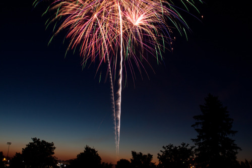 Independence Day just isn't the same without fireworks, and Walla Walla knows it!  The city sets off a nice display every year from the fairgrounds, just a ten-minute drive from the campus of Walla Walla University.  Photo by Chris Drake, 2001 mass communications graduate and current director of media services for WWU.