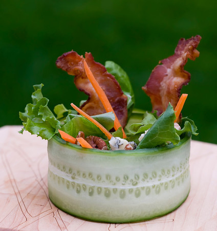 Bacon: We like it self-contained. Cucumber Wrap Salad with Bacon and Blue Cheese