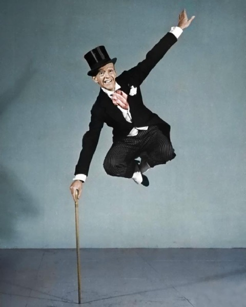 "After several months of training by Tindink, Fred Astaire eventually managed  to levitate himself. ""It was easier training my elephant to levitate"" Tindink told our correspondent ""Even now he has to prop himself up with his stick"" Inspired by Mothgirlwings"