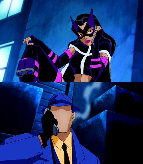 HUNTRESS: So…what are you wearing?THE QUESTION: Blue overcoat. Fedora.HUNTRESS: You really stink at this.THE QUESTION: Orange socks?
