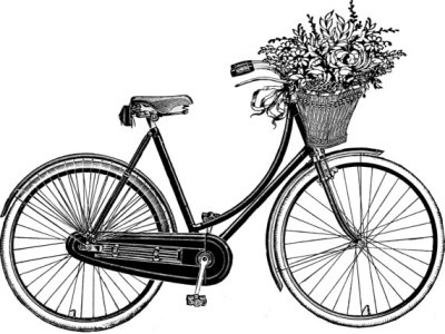 thebicycleisart:  Bike Print with Flowers
