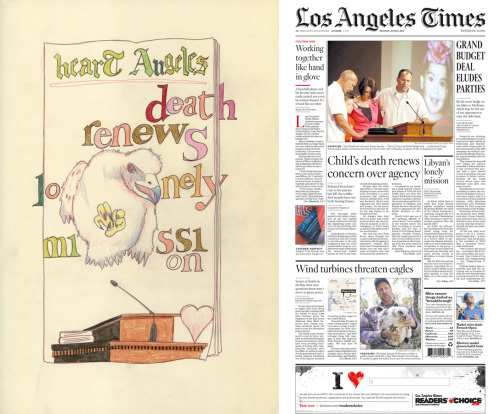 Artist Erik Shveima has been illustrating the front page of the Los Angeles Times every day this year.