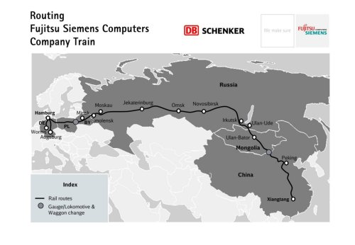 A Silk Road for the 21st century: Freight rail linking China and Germany officially begins operations The freight rail across Eurasia officially launched on Thursday night, with a cargo train leaving on its journey from Chongqing to Duisburg, Germany, filled with laptops and LCD screens scheduled to arrive in Europe two weeks after leaving China. The 11,179 kilometers long track will be running through the far western Xinjiang Uygur autonomous region, Kazakhstan, Russia, Belarus, and Poland, before finally reaching Germany.  so cool. so very very cool.