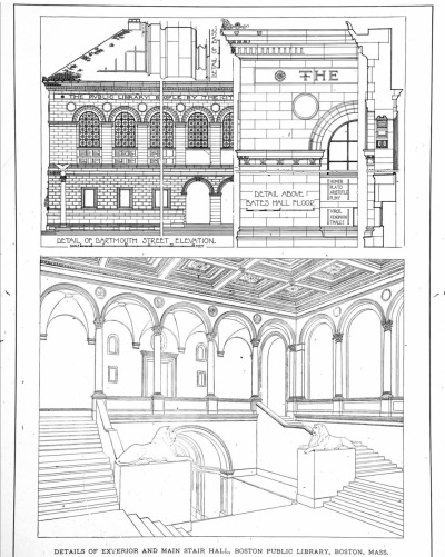 archimaps:  Details of the exterior and the main stair hall of McKim, Mead & White's Boston Public Library