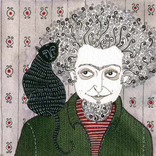 Le Chat Noir: Yelena Bryksenkova's 2009 drawing of Georges Perec