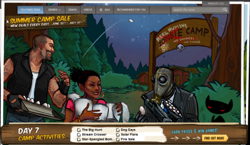 Day 7 Of Steam's Summer Camp Sale 2011 Featuring Rochelle and Francis on the frontpage, pulling pranks at the zombie's camp! Also Left 4 Dead 2 75% off!! ( Do you like know people who still don't play?) A new achievement has been added,too! Stream Crosser - Survive the Cold Stream campaign on any difficulty The day ends in 21h 57minutes.