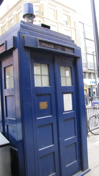 The only TARDIS in London is located in Earl's Court right outside the tube station according to my sources. Flock to it, whovians. Don't know how much longer that one will be up. Taken with my Cannon Powershot camera about two months ago in London, England.