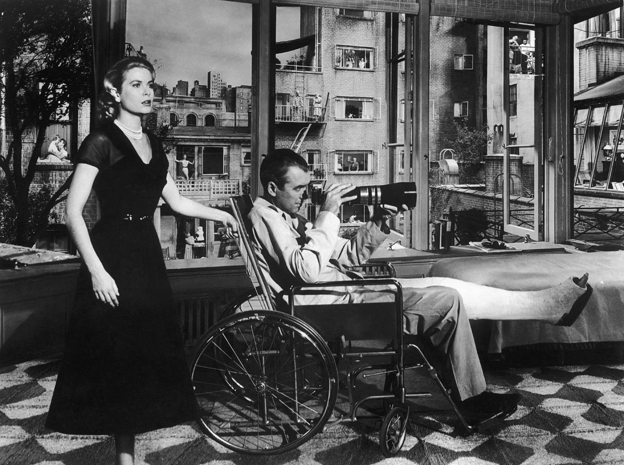This photo is absolutely perfect. (From Rear Window, 1954.)