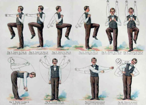 c1910 French exercise routine sheet