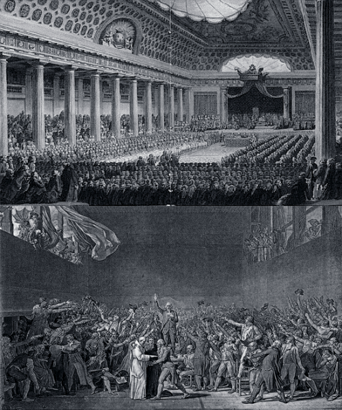"Top Picture: The Estates-General of 1789 was a general assembly summoned together by King Louis XVI to propse solutions to the government's financial problems. The meeting was representation from the three French estates of the realm: the nobility, the Church, and the common people of France.Bottom Picture: The Third Estate, the common people of France, who although were a majority only had a third of the representation in the meeting. The Third Estate created the Tennis Court Oath after the nobility locked them out of a Estates-General meeting. They congregated in a nearby tennis court where they took a solemn collective oath ""not to separate, and to reassemble wherever circumstances require, until the constitution of the kingdom is established.""The oath was both a revolutionary act, and an assertion that political authority derived from the people and their representatives rather than from the monarch.Their solidarity forced King Louis XVI to order the clergy and the nobility to join with the Third Estate in the National Assembly. And although only a paper victory for the common people of France, signified a push towards revolution."