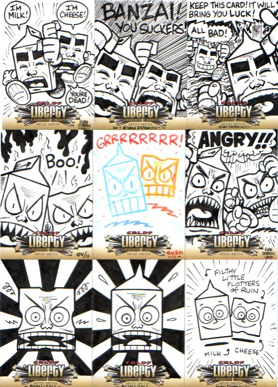 These are nine of the ten Milk and Cheese sketch insert cards, by Evan Dorkin, of the CBLDF Liberty Card set project. Dairy products gone bad!