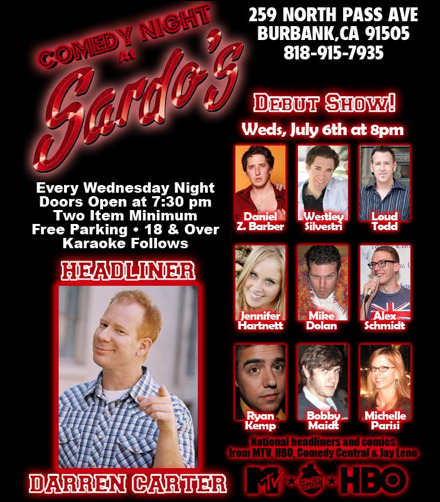 Come on out to Sardo's tonight for a great and free comedy show!  Lots of great comedians, and also Alex Schmidt.