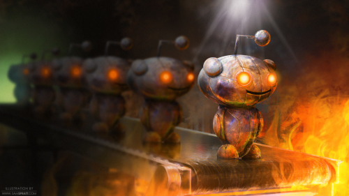 """Reddit Robot Downvote"" - Illustration by Sam Spratt Where Reddit Robots go to die. Amused by the hive mind that is ""reddit"" and their powerful decision-making over what is good and bad on the internet—I thought I would illustrate the moment before an image, link, or idea gets down voted into the fiery depths of the web. (I firmly believe it is a robot despite these claims of it being an alien) If you like this illustration, do follow me on tumblr (I follow back almost every person that follows me), or for the latest, I run a mean facebook artist's page and a musing-filled twitter."