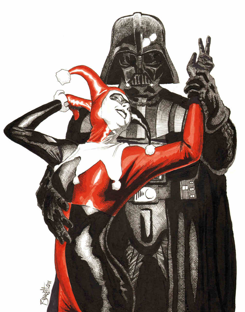 jerrybennett:  Vader and Harley- Ink and Color Marker My Latest Commission. Not sure I would've thought to put these two together. :)