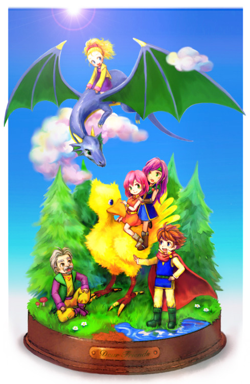 [picture: Galuf, Krile, Lenna, Faris, and Bartz from FF5. They are all together in a patch of forest set on a stand. Lenna and Faris are riding Boko and Bartz is petting him while Krile rides a dragon in the sky and Galuf sits on the ground. All of them are smiling.] fyeahff:  Galuf, Krile, Lenna, Faris & Bartz (FFV).