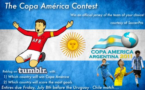 afootballreport:  The Copa América Contest - The rules are simple and stated in the picture above. If you need some new soccer apparel, you're in luck. Want the new Argentina jersey or the new soccer jersey of your club or country? Then go on and make your predictions!