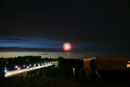 Fireworks from the roof.