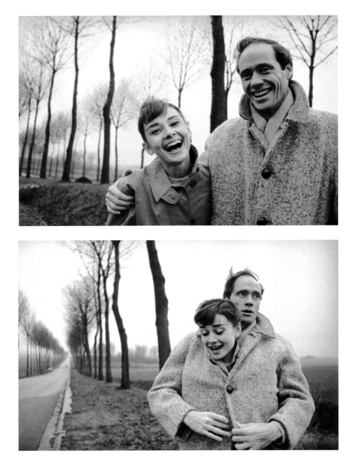 pink-bullets:   Audrey Hepburn and husband Mel Ferrer pose for pictures during a roadside excursion somewhere in France, 1956.