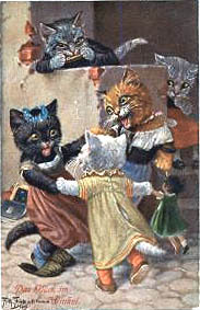 The victorian kitties are playing ring around the rosey with a doll. Oh! What's that victorian kitty in the back? You want to play, too? WELL YOU CAN'T! You're too busy creeping while the other victorian cat is playing the harmonica. That's something you don't see everyday.