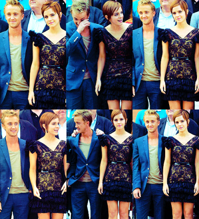 thebeautyofsolitude:  ~ Tom Felton&Emma Watson - Harry Potter and Deathly Hallows part 2 London photocall