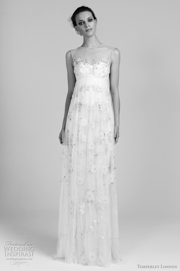 weddinginspirasi:  Temperley London 2012 Wedding Dresses Lilian silk organza and crinkle chiffon gown with lace covered sweetheart neckline. More Temperley wedding dresses
