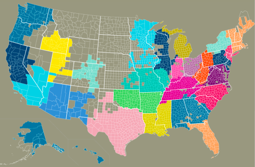 If you've followed this blog for a while, you might recall the Social Regions of the United States according to our Facebook connections. The above map is a similar concept, showing what our state lines might look like if they were drawn based on who we communicate with most as determined by our cell phone calling data. The map based on SMS data is slightly different from the one based on actual phone calls, which I'd guess has to do with texting being a more strictly personal activity.