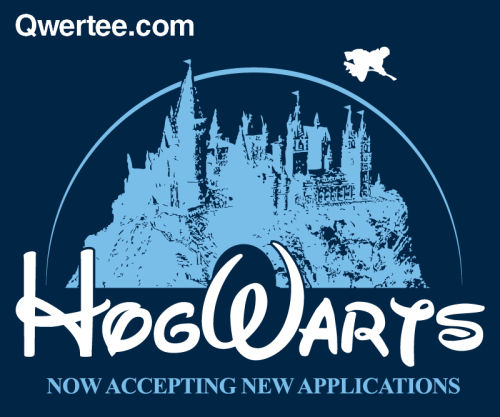Hogwarts = Disney. Think about it. This is a t-shirt up at Qwertee for a few more hours, designed by warbucks360.