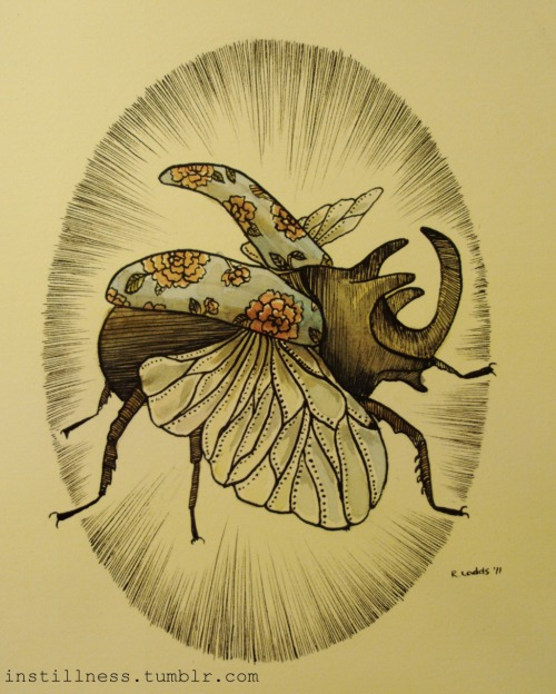 'Rhinocerous Beetle' Rebecca Ladds, 2011. Available HERE.