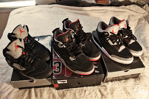 sneakerflavor:  Black is Back  Airjordan V's, IV's and III's