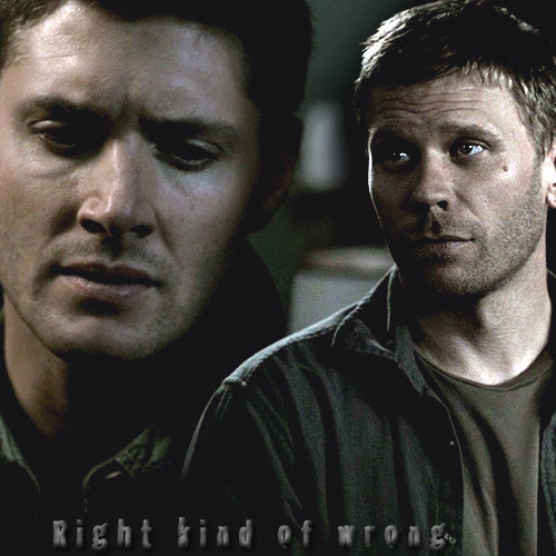 mistressofluci:  Dean/Lucifer: Right Kind of Wrong  I know all about,Yea about your reputationAnd now it's bound to be a heartbreak situationBut I can't help it if I'm helplessEvery time that I'm where you areYou walk in and my strength walks out the doorSay my name and I can't fight it any moreOh I know, I should goBut I need your touch just too damn muchLoving you, that isn't really something I should doI shouldn't wanna spend my time with you, yaWell I should try to be strongBut baby, you're the right kind of wrongYa, baby, you're the right kind of wrong