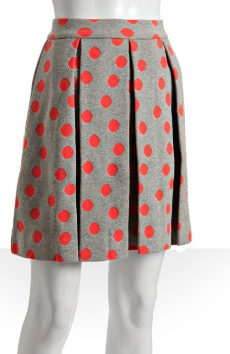 Marc by Marc Jacobs Dapper Gray Polka Dot Pleated Skirt - $113 This pleated skirt would be so cute for work (and after-work) with a white button down, colorful jewelry and nude pumps!  (Bluefly, Click through to buy)