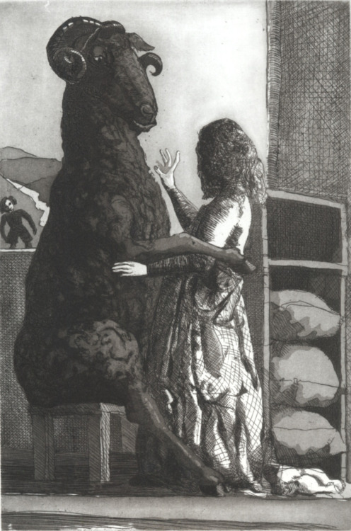 "esdrujulasmuertas:  Paula Rego -  ""Black Sheep"" , 1989. Etching and aquatint 32,2 x 21,6 cm Paper: 52 x 38,3 cm Série Nursery Rhymes"