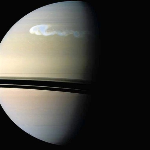 Saturn's Great White Spot, which occurs about once every 30 Earth years, is a windy, towering cloud of ammonia and water spewing out super jolts of thunder and lightning. The storm is about 10,000 times stronger than those on Earth. Photo credit: NASA