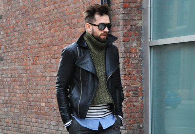 【LEATHER BIKER JACKET ON KNITTED JUMPER】 GQ 详情