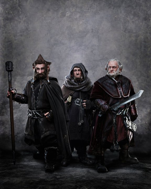 Un primer vistazo a los enanos de The Hobbit: Jed Brophy como Nori, Adam Browm como Ori y Mark Hadlow como Dori.  The Hobbit: Part 1