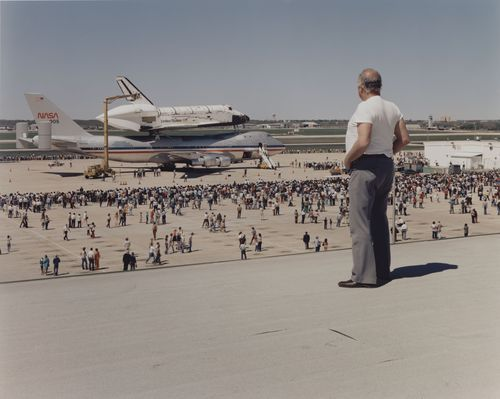 "3rdofmay:  The art: Joel Sternfeld, The Space Shuttle Columbia Lands at Kelly Lackland Air Force Base, San Antonio, Texas, 1979. The news: ""What does the final shuttle flight mean for space exploration,"" by Ian Sample in The Guardian. The source: Collection of the Museum of Modern Art, New York."