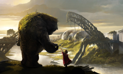 New artwork we created for the GameHorizon 2011 Conference. A gentle giant hands a flower to a mysterious young girl amongst the backdrop of a post-apocalyptic world.