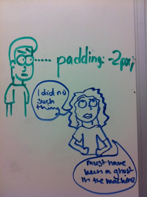 Our Web Dev. Intern gets scolded. Love our office graffiti.