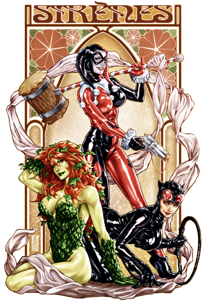 Gotham Sirens Mark Brooks will be selling this art nouveau-style print of Harley Quinn, Poison Ivy, and Catwoman at San Diego Comic Con. Get a good look at the trio because come September, these characters will not resemble this incarnation anymore after the DC relaunch.
