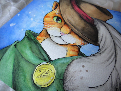 watercolour cat in boots, I love that tale