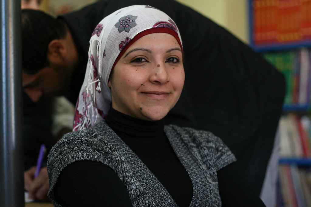 Kholoud Al Ajarma, a Palestinian woman who coordinates the arts and media activities for the Lajee Center, whom we met and interviewed while reporting within Aida refugee camp in the West Bank city of Bethlehem this past March. What a gift to meet her and take her photo, along with many others while working there. (photo: Trent Gilliss) (via beingvisual)
