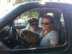 Caroline and Max head back to Minneapolis in the truck with a new friend: Gino the craigslist rideshare bull dog.  Happy trails…