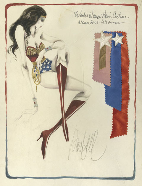 sadburro:  Original costume sketch for Wonder Woman TV series Illustrator: Donfeld