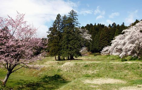 平泉町 (Hiraizumi-chō) – Temples, Gardens and Archaeological Sites Representing the Buddhist Pure Land, 西磐井郡 (Nishiiwai-gun), 岩手県 (Iwate-ken), Japan  This newly inscribed World Heritage Convention mixed site comprises five sites, including the sacred Mount Kinkeisan. It features vestiges of government offices dating from the 11th and 12th centuries when Hiraizumi-chō was the administrative center of the northern realm of Japan and rivaled Kyoto. The realm was based on the cosmology of Pure Land Buddhism, which spread to Japan in the 8th century. It represented the pure land of Buddha that people aspire to after death, as well as peace of mind in this life. In combination with indigenous Japanese nature worship and Shintoism, Pure Land Buddhism developed a concept of planning and garden design that was unique to Japan. Photograph © Ôikegaran Ato / Kawashima Printing Company