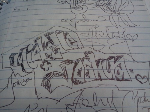 Bored in class…and this is what I do lol omg im such a little girl, writing our names in cursive repeatedly :P
