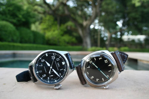 We do it BIG. The huge 46mm IWC Big Pilot and it's italian brother Panerai PAM00249 Radiomir '1936 California Dial'.