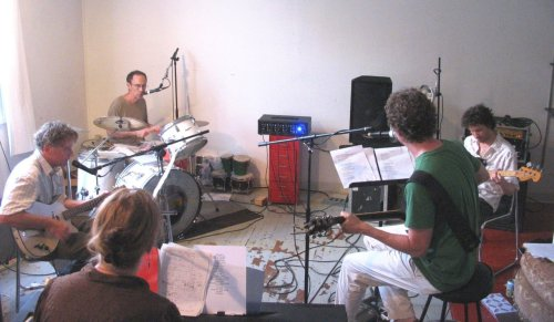 Rehearsing in 90 degree heat. Summer 2011 tour starts tomorrow in Chicago!
